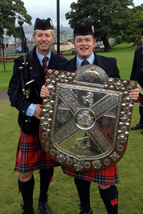 Brian and Richard with the Cowal Shield in 2013